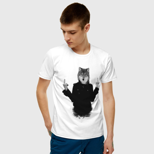 Мужская футболка хлопок Fuck wolf Фото 01