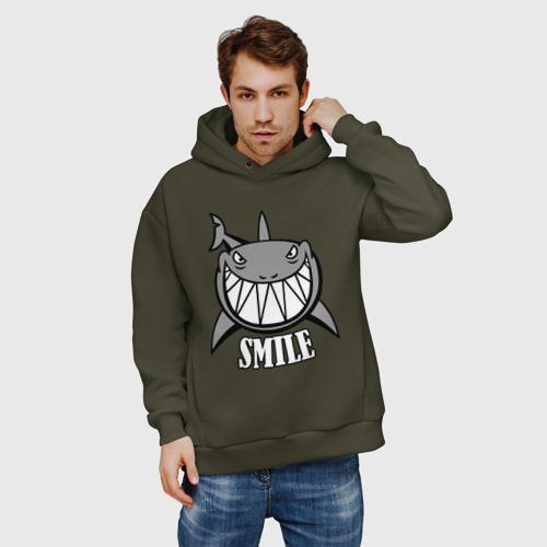 Мужское худи Oversize хлопок Акула улыбается Фото 01
