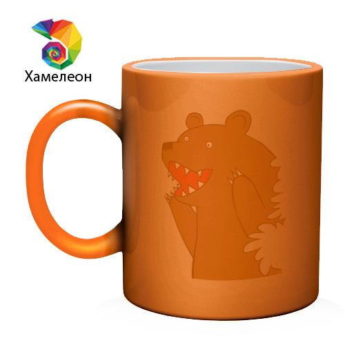 Кружка хамелеон  Фото 02, Медведь цензурный