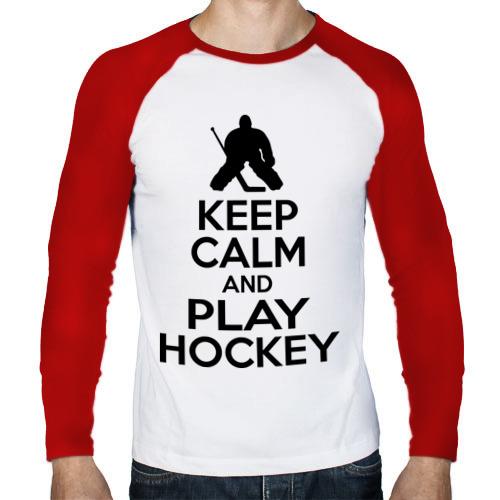 Мужской лонгслив реглан  Фото 01, Keep calm and play hockey