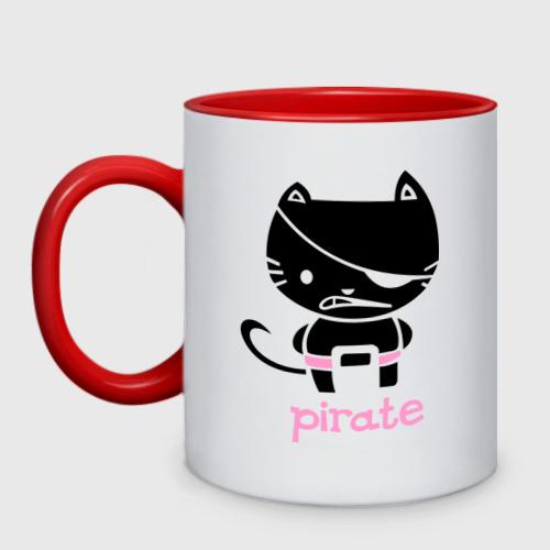 Кружка двухцветная Kitty Pirate