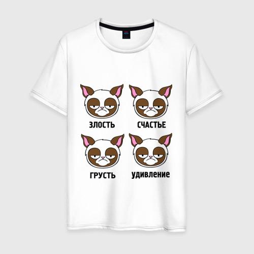 Мужская футболка хлопок Эмоции грустного кота