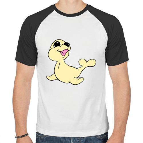 Мужская футболка реглан  Фото 01, Милый тюлень