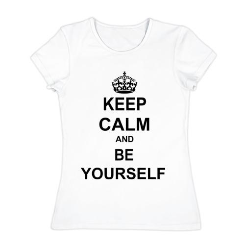 Женская футболка хлопок  Фото 01, Keep calm and be yourself