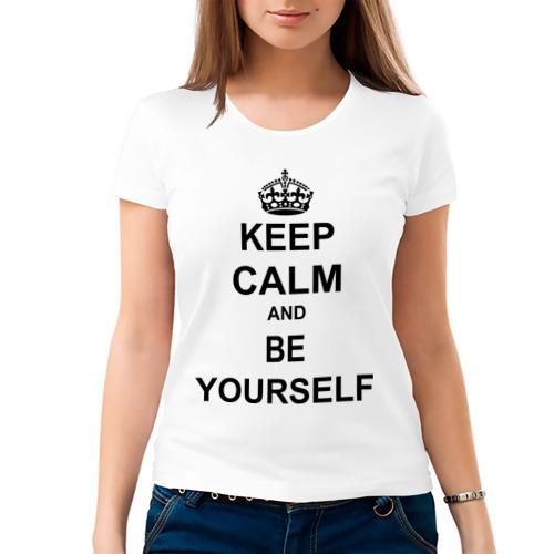 Женская футболка хлопок  Фото 03, Keep calm and be yourself