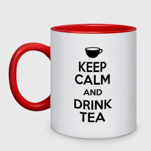 Кружка двухцветная Keep calm and drink tea