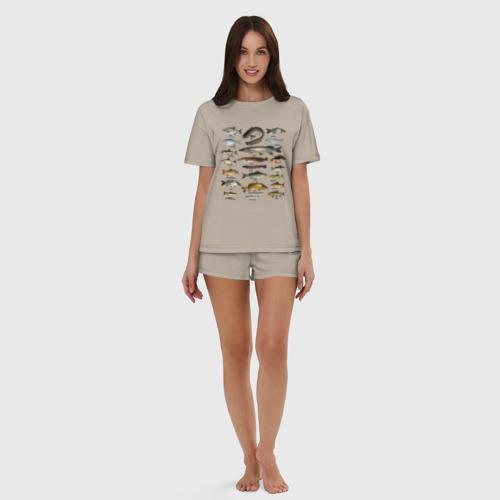 Женская пижама с шортиками хлопок Популярные виды рыб Фото 01