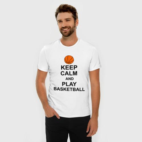 Мужская футболка премиум  Фото 03, Keep calm and play basketball.