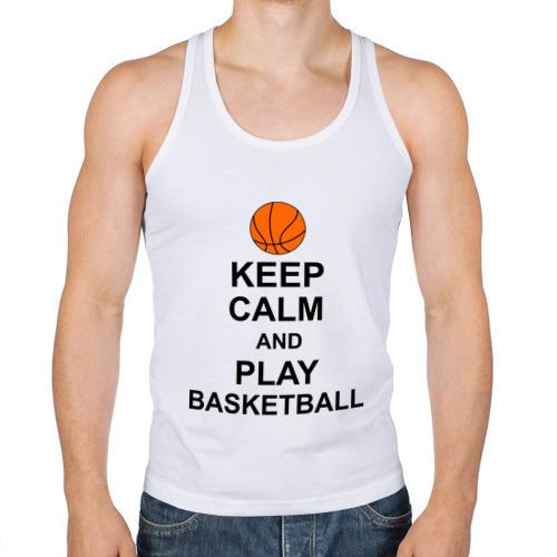 Мужская майка борцовка  Фото 01, Keep calm and play basketball.