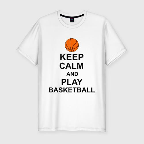 Мужская футболка премиум  Фото 01, Keep calm and play basketball.