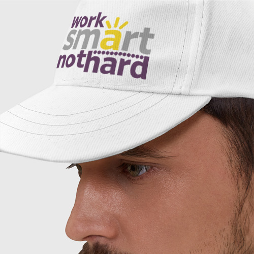Бейсболка  Фото 01, Work smart, not hard