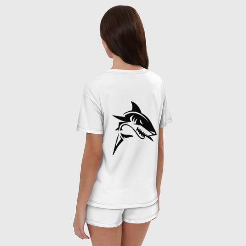 Женская пижама с шортиками хлопок Татуировка акулы Фото 01
