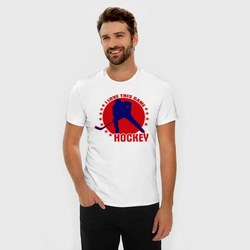 Мужская футболка премиум  Фото 03, I love this game. (Hockey)