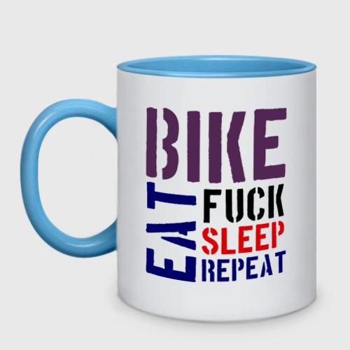 Кружка двухцветная Bike eat sleep repeat Фото 01