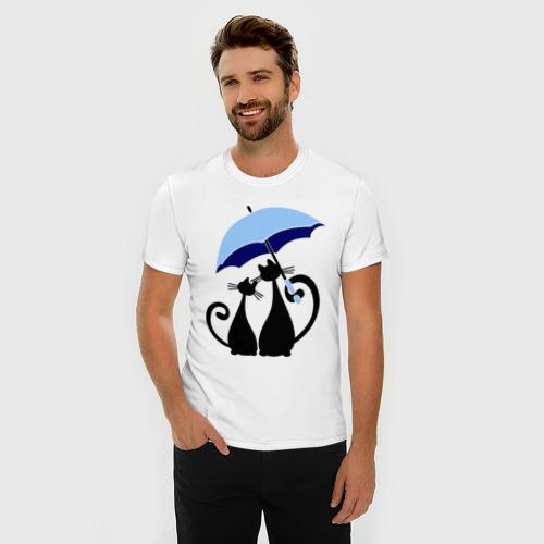 Мужская футболка премиум  Фото 03, влюбленные кошки