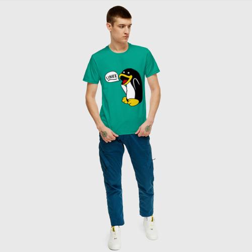 """Мужская футболка хлопок Пингвин: \""""Linux\"""" Фото 01"""
