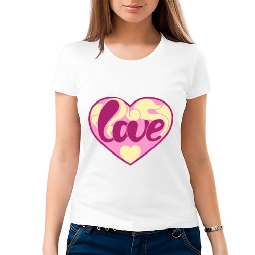 Женская футболка хлопок надпись love