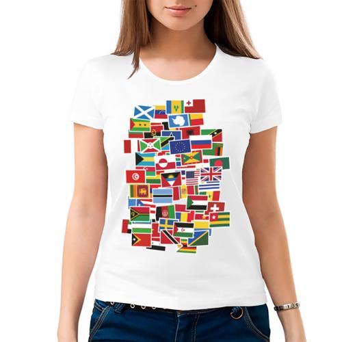 Женская футболка хлопок Flag sticker bombing