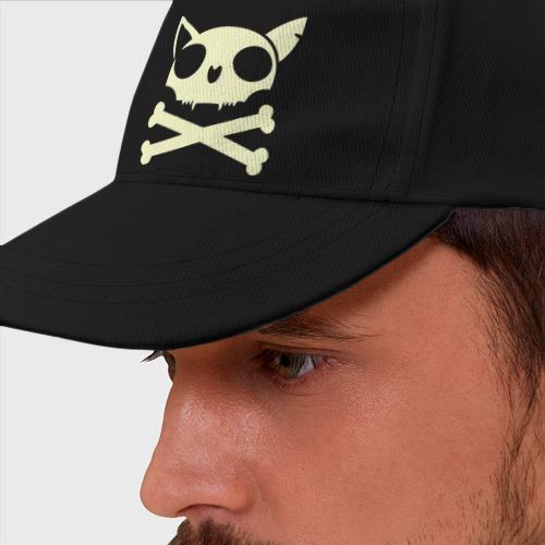 Бейсболка Кошачий пиратский флаг(свет)