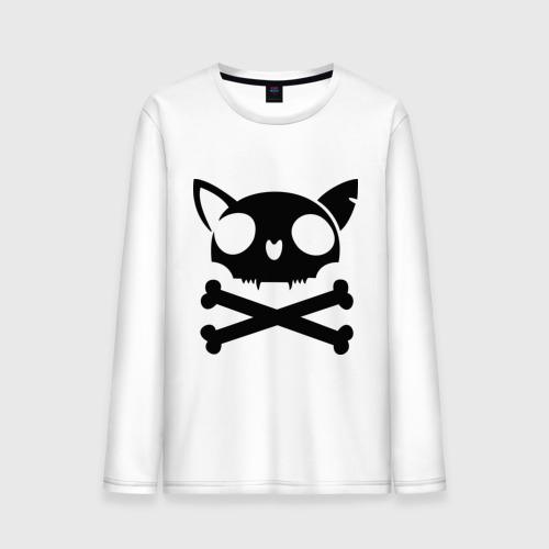 Мужской лонгслив хлопок  Фото 01, кошачий пиратскй флаг