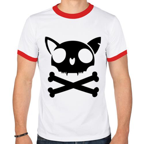 Мужская футболка рингер  Фото 01, кошачий пиратскй флаг