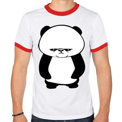 Мужская футболка рингер  Фото 01, Серьезная панда.