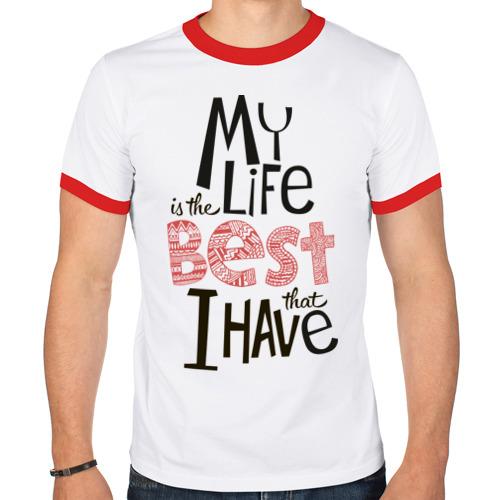 Мужская футболка рингер  Фото 01, My life is the best