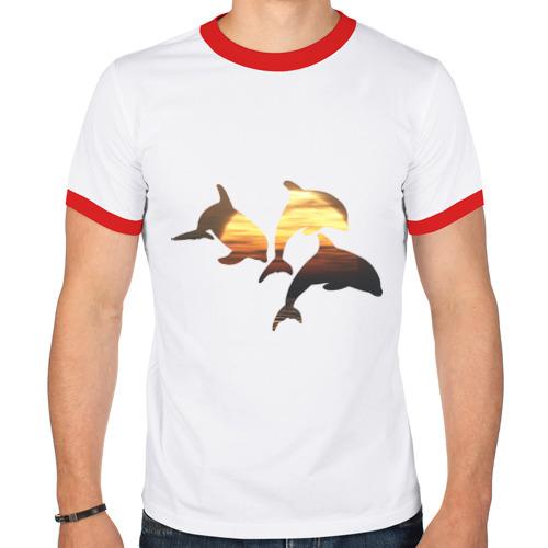 Мужская футболка рингер  Фото 01, Дельфины на закате (2)