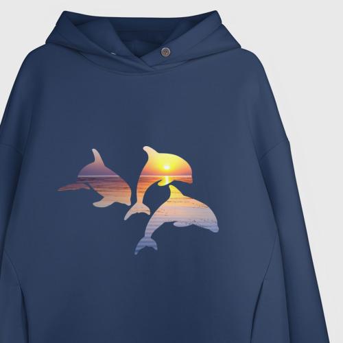 Женское худи Oversize хлопок Дельфины на закате Фото 01