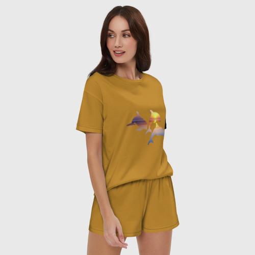 Женская пижама с шортиками хлопок Дельфины на закате Фото 01