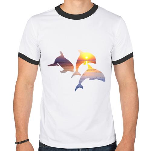Мужская футболка рингер  Фото 01, Дельфины на закате