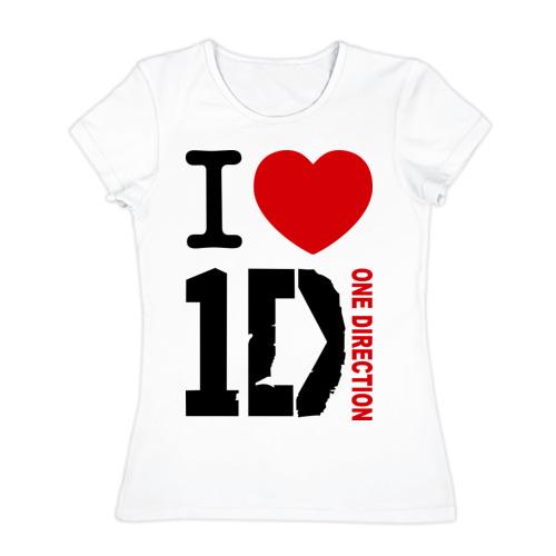 Женская футболка хлопок I love 1D