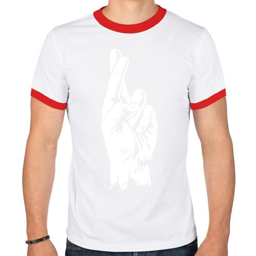 Мужская футболка рингер  Фото 01, Cross fingers