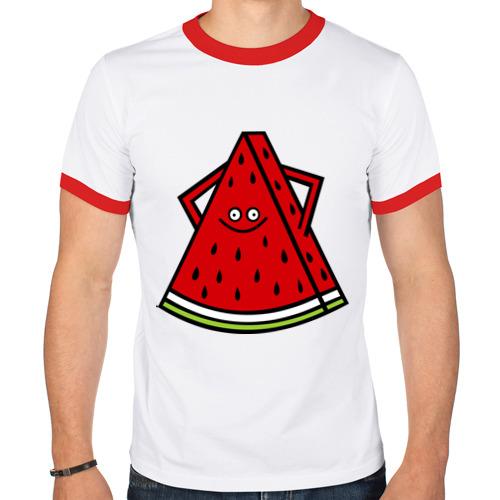 Мужская футболка рингер  Фото 01, Веселый арбуз