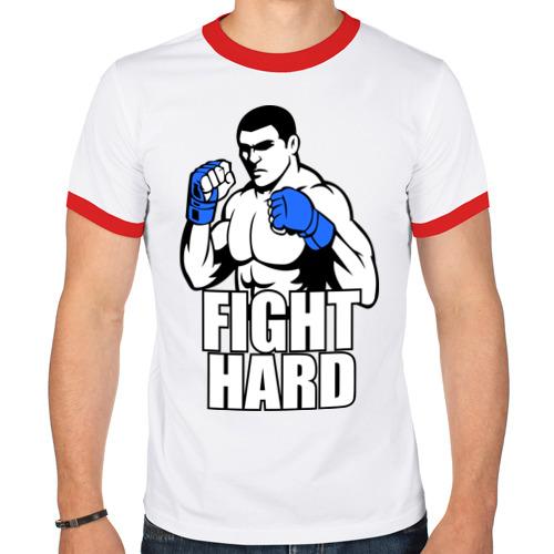 Мужская футболка рингер  Фото 01, Fight hard.