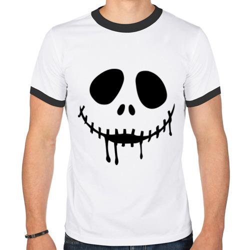 Мужская футболка рингер  Фото 01, Лицо с зашитым ртом растекается