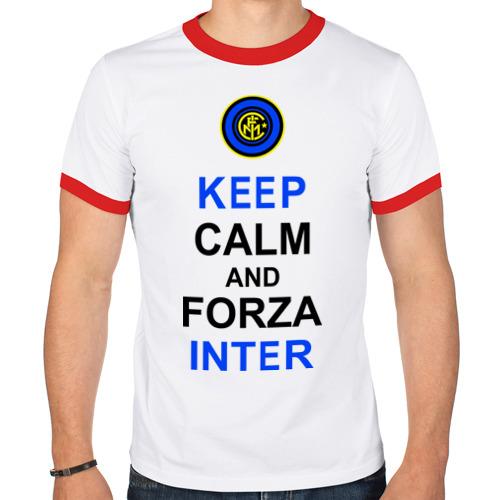 Мужская футболка рингер  Фото 01, keep calm and forza Inter