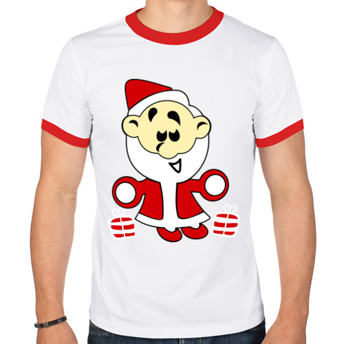 Мужская футболка рингер  Фото 01, Дед мороз с подарками.