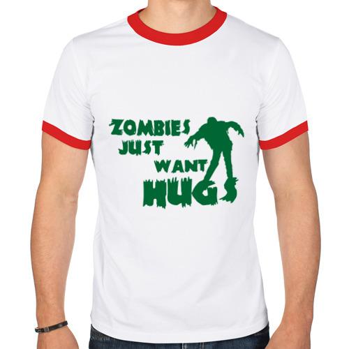 Мужская футболка рингер  Фото 01, Zombies just want hug
