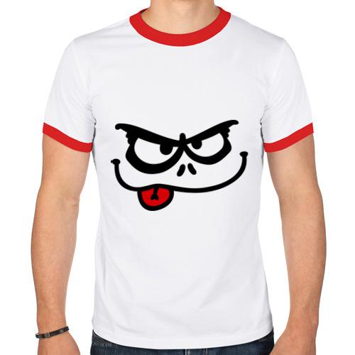Мужская футболка рингер  Фото 01, Серьезный смайл с языком