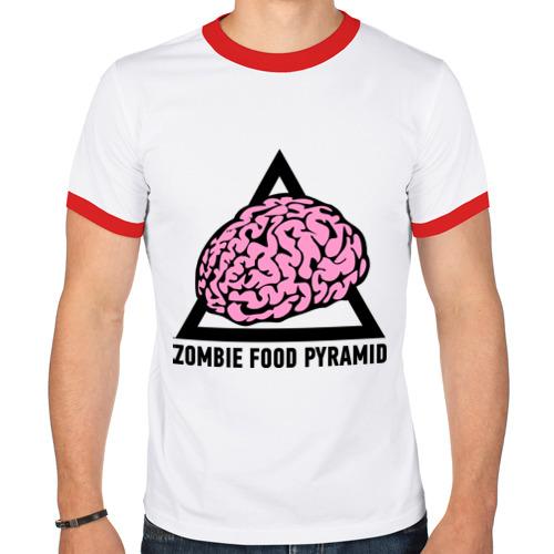 Мужская футболка рингер  Фото 01, Zombie food pyramid