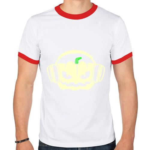 Мужская футболка рингер  Фото 01, Тыква в наушниках