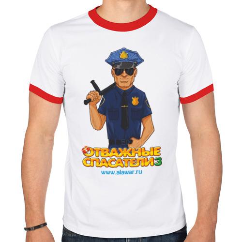 Мужская футболка рингер  Фото 01, Отважные спасатели 3 - Полицейский