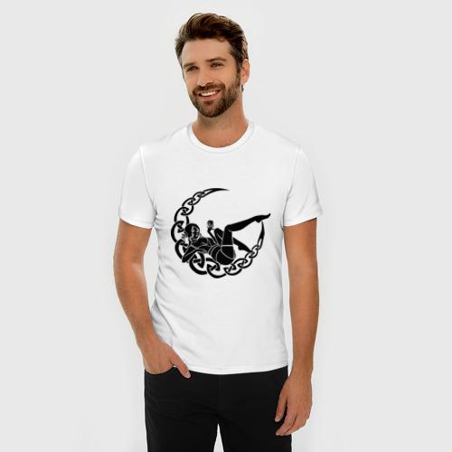 Мужская футболка премиум  Фото 03, Девушка и луна