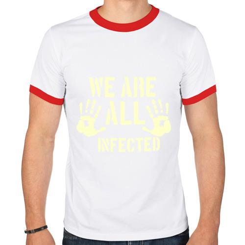 Мужская футболка рингер  Фото 01, We are all infected