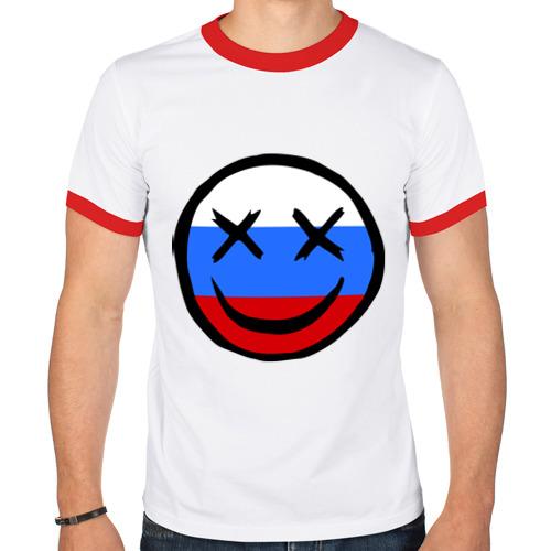 Мужская футболка рингер  Фото 01, Русский смайл