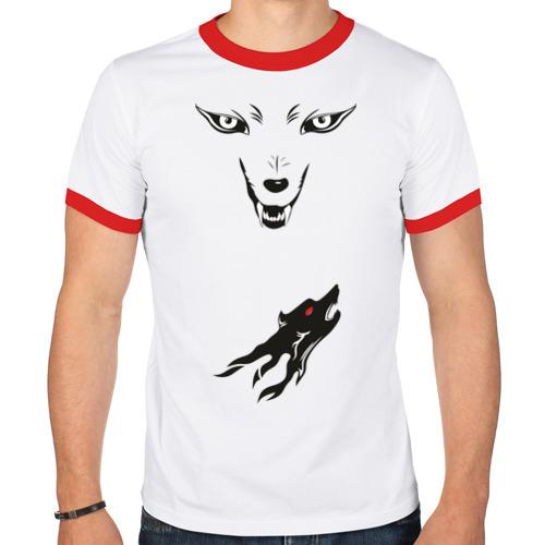 Мужская футболка рингер  Фото 01, волк