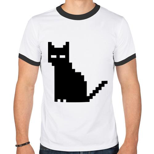 Мужская футболка рингер  Фото 01, Пиксельный котик