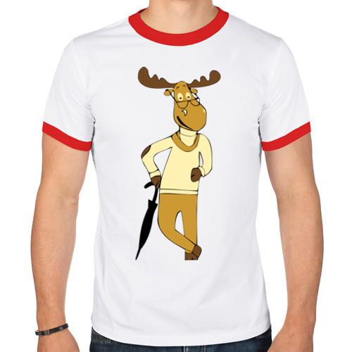 Мужская футболка рингер  Фото 01, Олень с зонтом