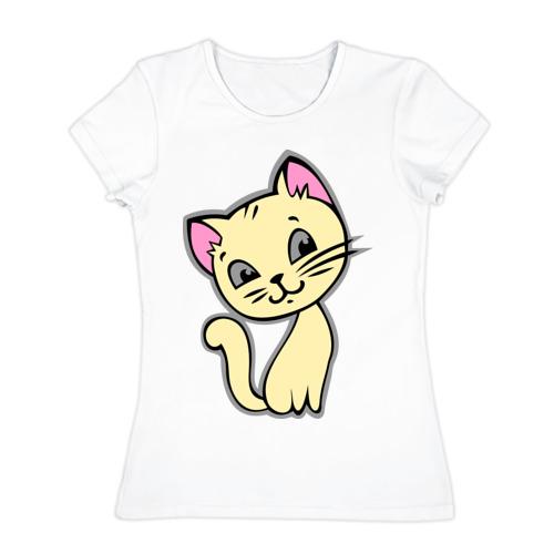 Женская футболка хлопок Котенок